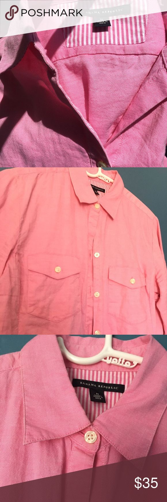 Pink Women's Banana Republic Oxford Sz M Only worn once! BR women's oxford with trouble front pockets - Sweet striped details on the inside of the placket and the cuffs 💓 Banana Republic Tops Button Down Shirts