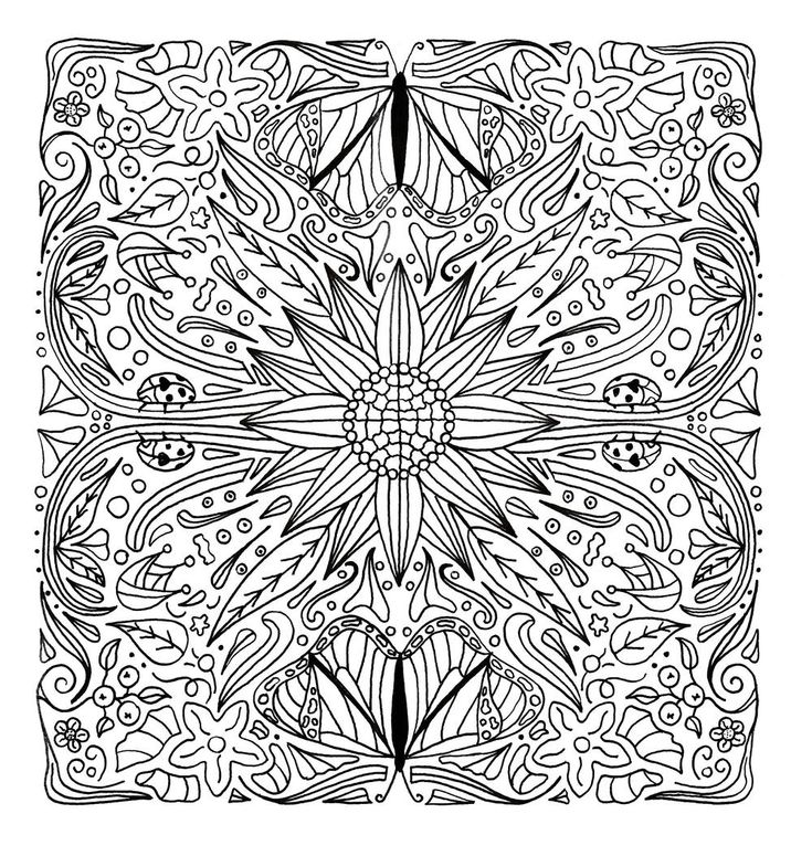 This FREE hand drawn mandala features butterflies and ladybirds hiding between the flowers and the leaves. #FaveCrafter #coloring #adultcoloring