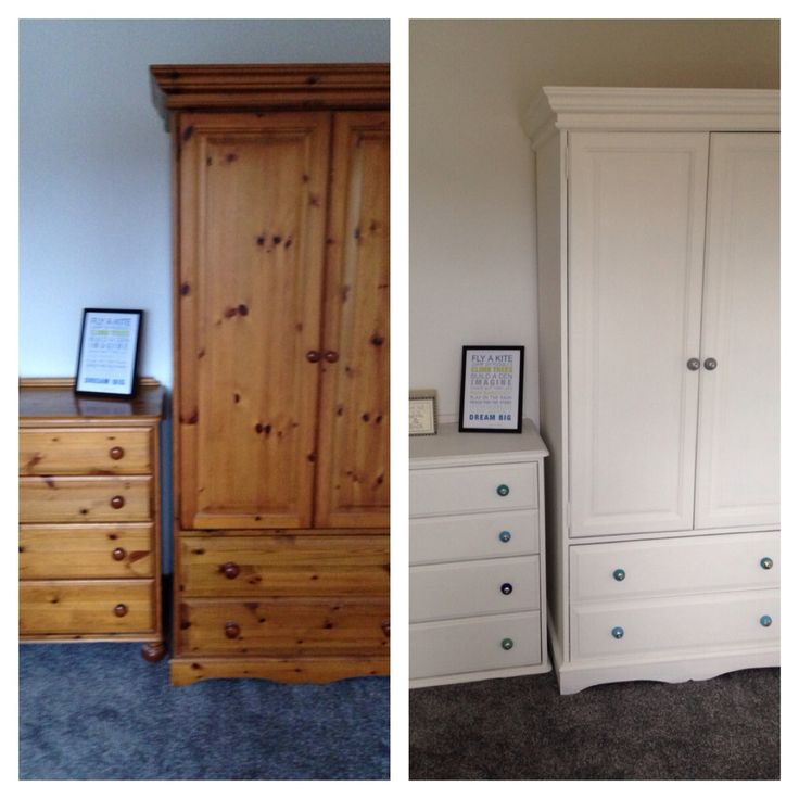 Pine wardrobe and drawers upcycled using 2 coats of wood primer, 2 coats of Dulux emulsion in White Chiffon. Knobs replaced with funky coloured ones from eBay.