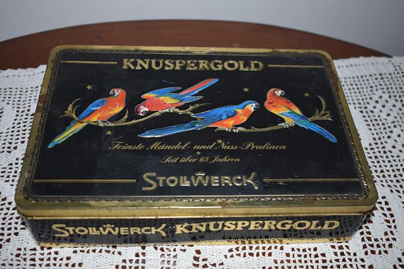 vintage colorful tin chocolate box  very rare. Kitchen
