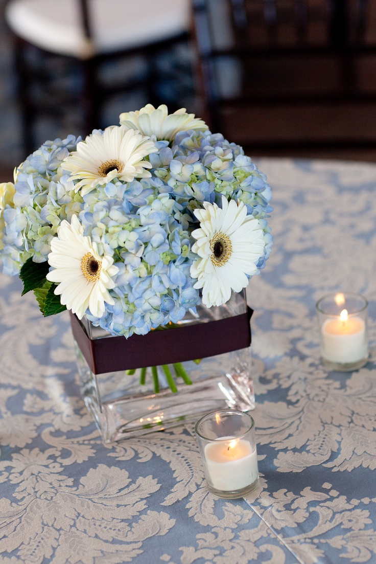 47 best flowers for marges party images on pinterest wedding wedding ideas blue hydrangea and white gerber daisies junglespirit Gallery