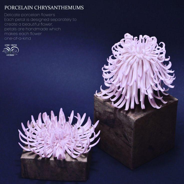 "Porcelain chrysanthemum. Ceramic floral. Chrysanthemum ""spider"". Ceramic flowers."