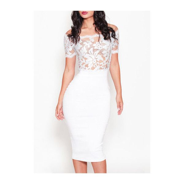 Rotita Boat Neck Lace Splicing White Midi Pencil Dress Found On Polyvore Featuring Polyvore