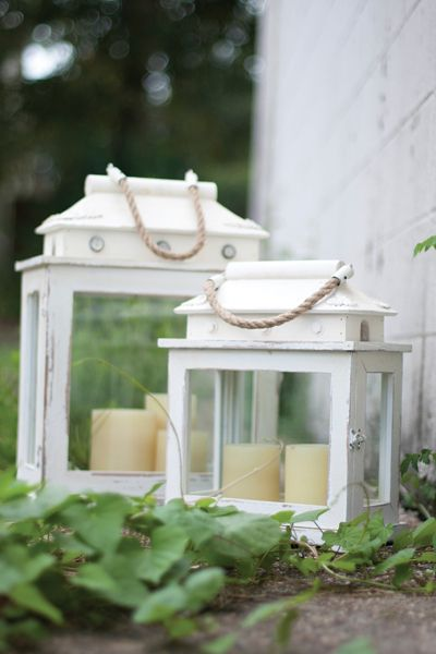 Set of Two Rectangle Whitewashed Cottage Wooden Lanterns