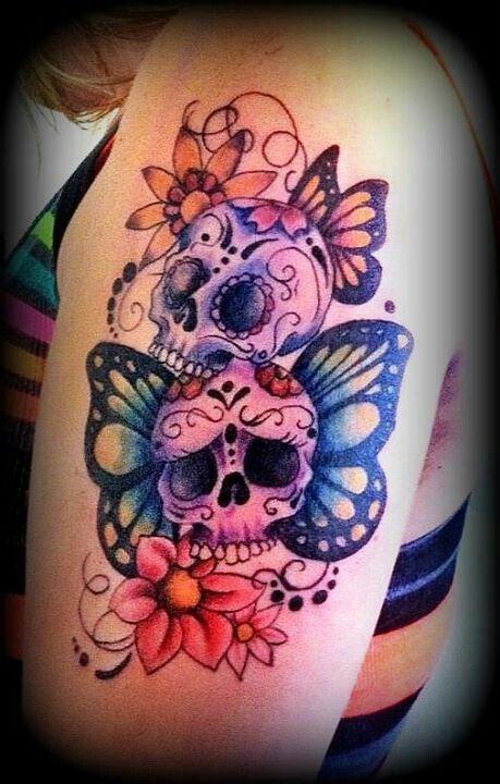 girly skull tattoos with flowers Tattoo Pinterest