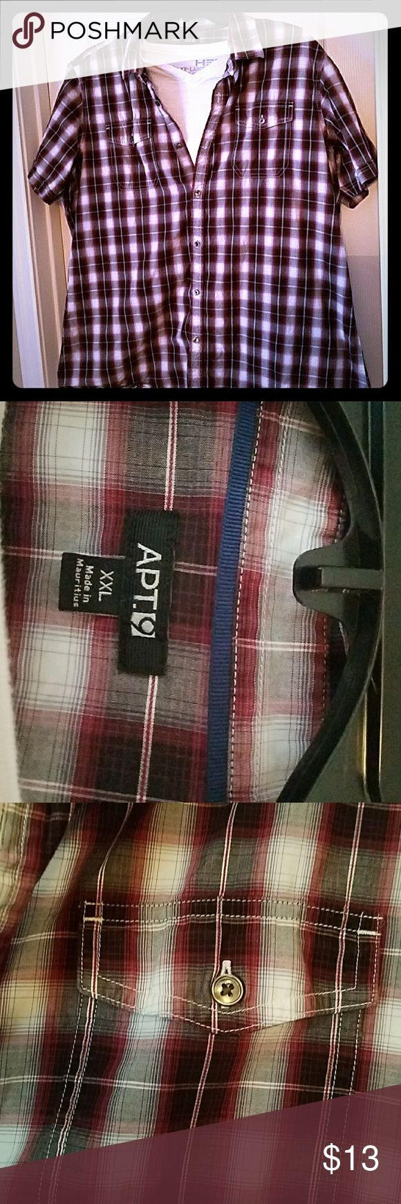 Young men's plaid 2x short sleeve shirt 2XL red, gray, white and black plaid shirt. 100% cotton.  Tradition front pockets with buttons. Great to dress up or down. Apt.9 Shirts Casual Button Down Shirts