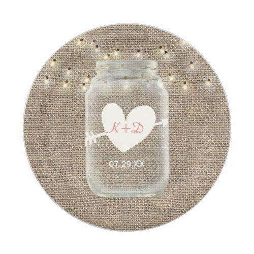 Mason Jar & String Lights Rustic Burlap Wedding Paper Plate