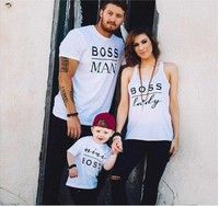 Wish | 2016 New Family Boss Letter Print Shirt Cotton Tshirt Mother and Daughter Father Son Clothes Matching Shirt Kid Shirt Suitable for 2-16years Old