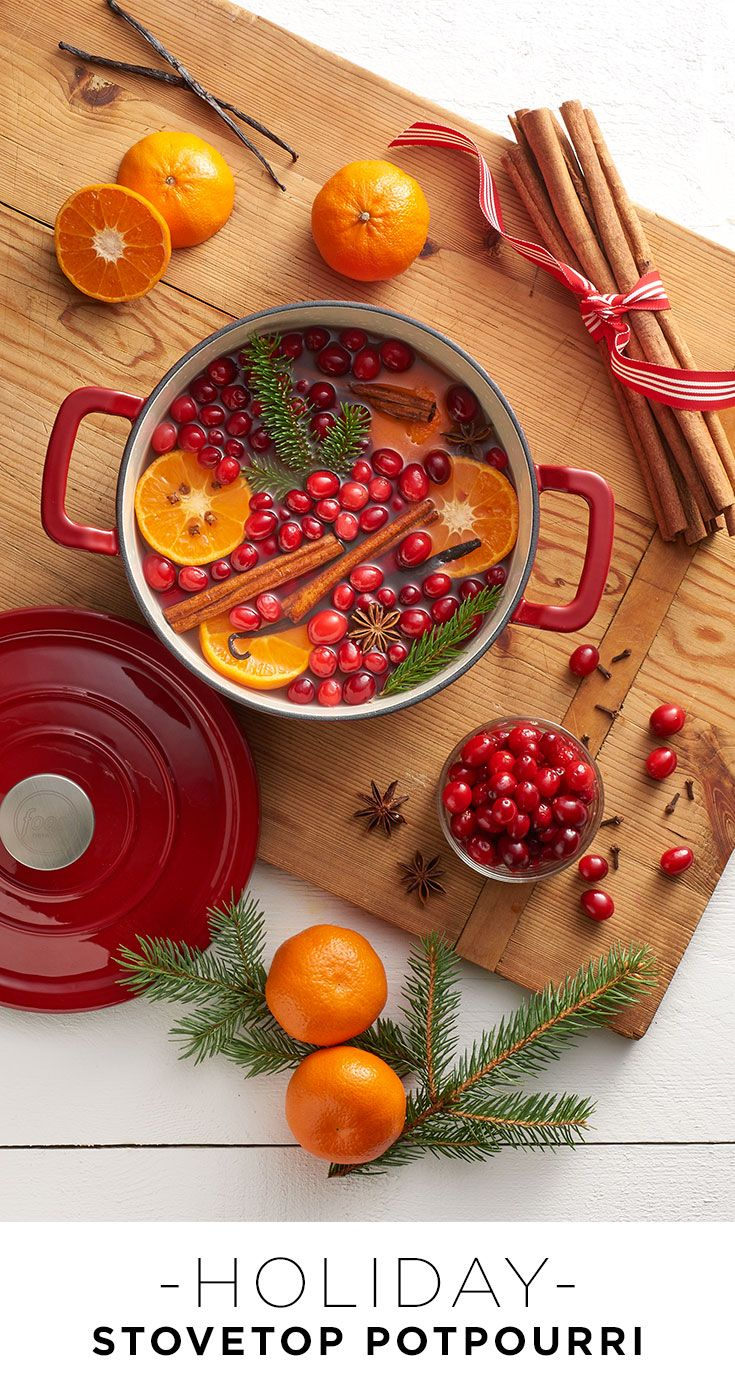 It's beginning to smell a lot like Christmas. Combine orange slices, cranberries, cinnamon sticks, ginger, vanilla, pine branches and anything else that smells great with water and let simmer in a dutch oven on the stove all holiday season long. Featured product includes: Food Network dutch oven. Celebrate the season with Kohl's.