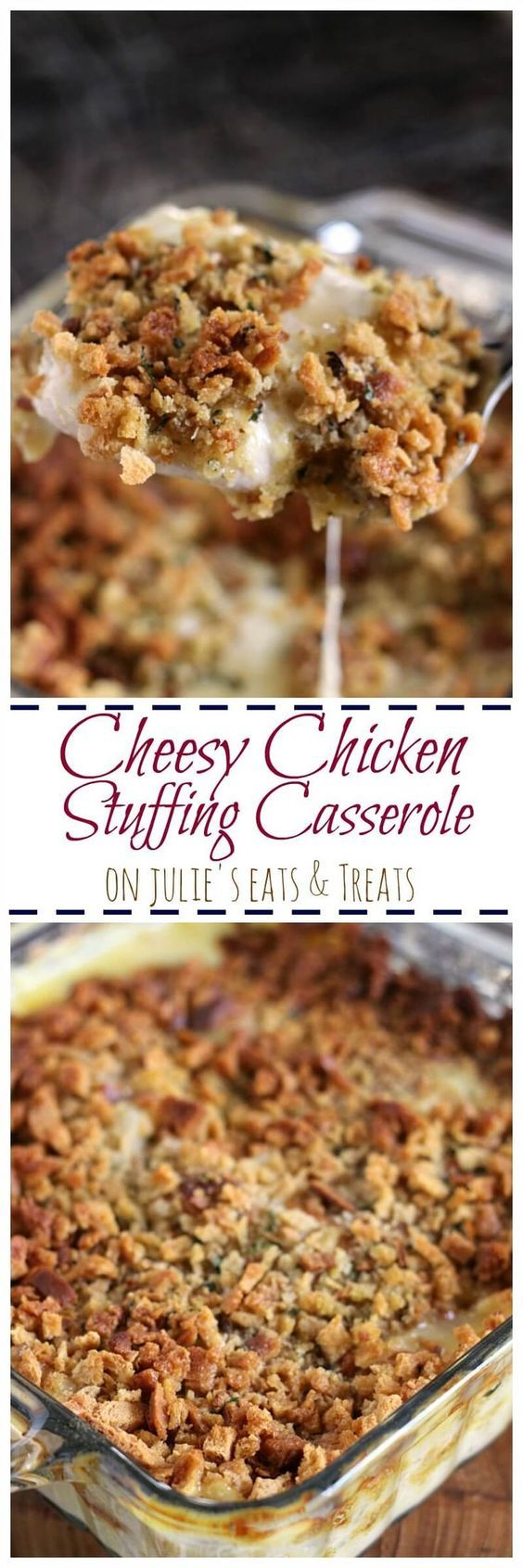 Cheesy Chicken Stuffing Casserole ~ Tender, Juicy Chicken Breast Topped with Cheese and Stuffing! Quick, Easy Weeknight Recipe!