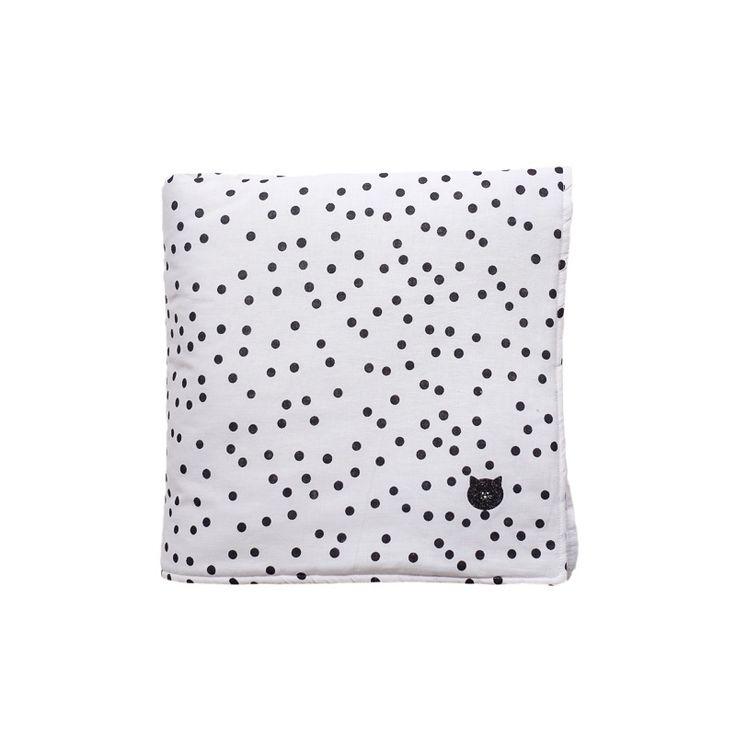 Couverture édredon LITTLE - Lin blanc à pois noirs et petite tête de chat - Silly et Billy