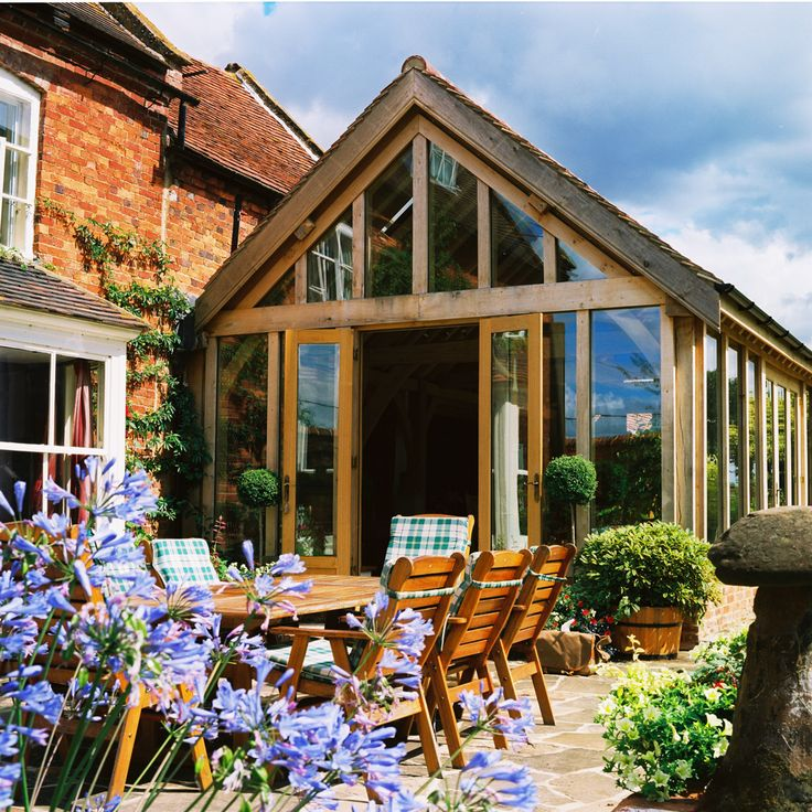Green Oak Porched Garden Room Extension Frame Covered Outdoor Area Pinterest Extensions And Gardens