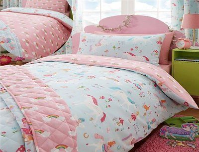 Kids Club Magical Unicorns Childrens Single Bed Duvet Cover & Pillowcase Unicorn