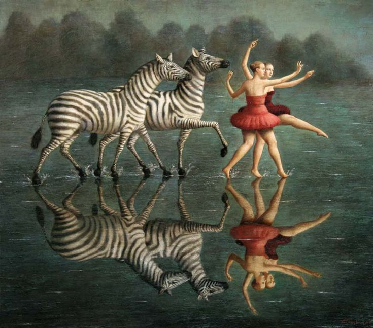 Artist: Ilya Zomb Title: PLEASURE OF WALKING ON WATER Size: 44 x 50 inches / 112 x 127 cm Medium: Oil on linen This picture displays balance by showing the reflection in the water. It is the same image as the one on top of the water. I choose it because I think it is a great picture of mankind with nature.