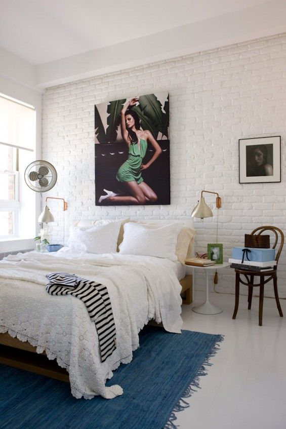 ..: White Brick Wall, Beds, Open Spaces, White Rooms, White Bedrooms, Rugs, Bedrooms Decor, Design, Paintings Brick Wall