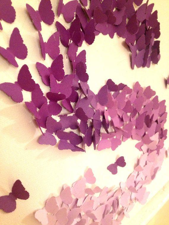 Arte della parete 3D farfalla Ombre viola alfabeto lettera