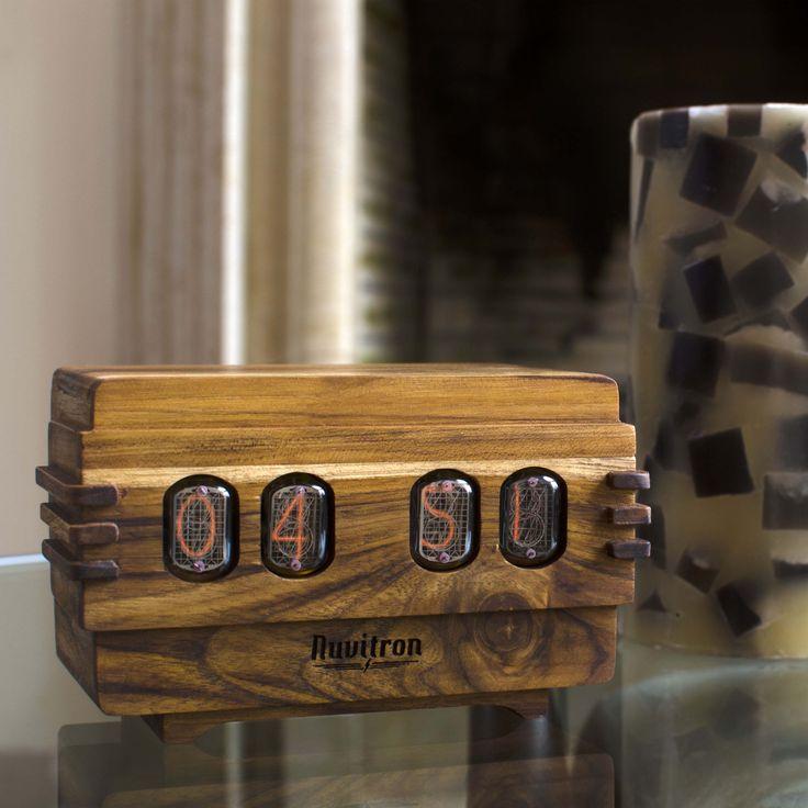 The Vintage Nixie Tube Clock - Volta #Nuvitron #gadget #nixie #chisel  #interiordesigner #woodart #woodworkingvip #husbandgift #artdecotimepiece #vintagetimepiece