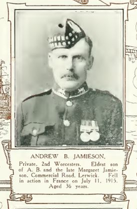Andrew was already a 'War Hero' since during the Boer War he had served in the 2nd Battalion and was awarded the Queens S Africa medal with clasps Wittebergen, Cape Colony and Transvaal and the Kings S Africa medal with clasps 1901,1902