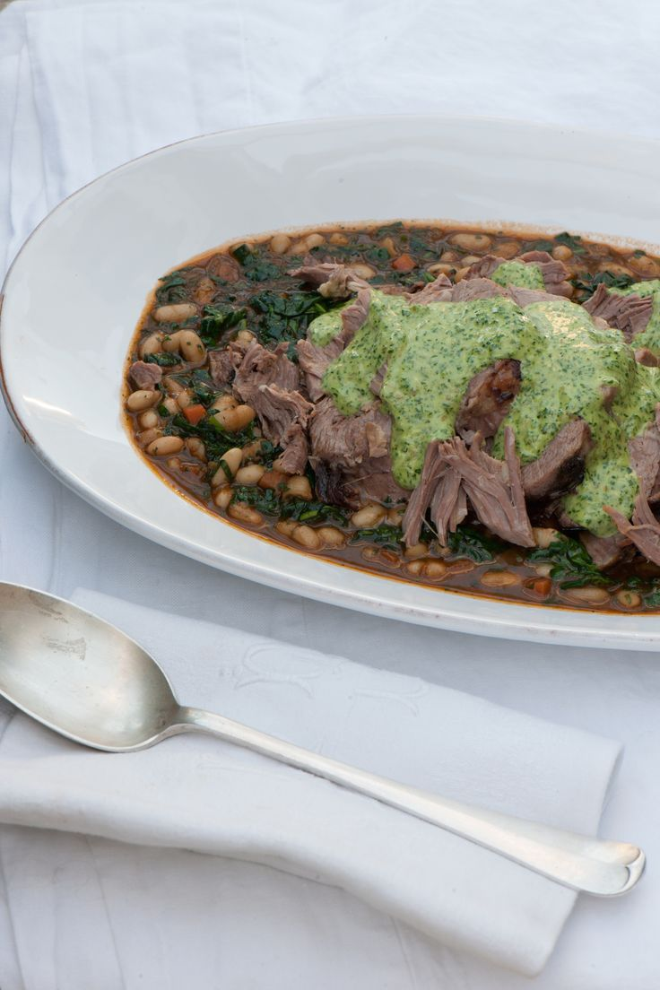 Slow-cooked Lamb Shoulder with White Beans and Salsa Verde Mayonnaise