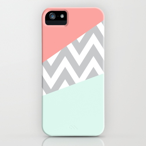 mint and coral chevron case
