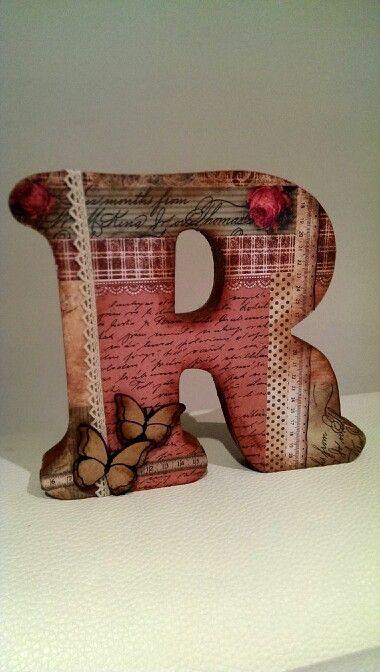scrap letra r de madera decorada by carme scrapbook