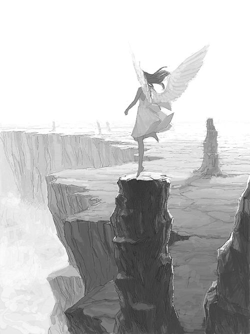 Imagen de angel, anime girl, and black and white