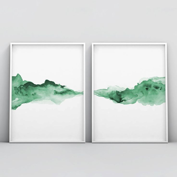 Abstract Green Watercolour 2 Piece Poster Set With Images