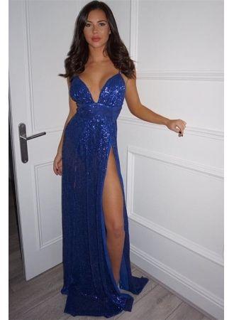 81c9f7fe57 USD 99.00 - Elegant V-Neck Royal Blue Prom Dress