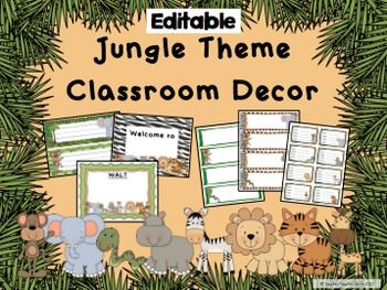 Classroom Decor Jungle Theme Editable Desk Tags Labels Wel