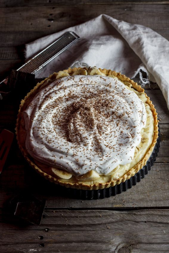 A delicious banana cream pie recipe with home-made shortcrust pastry, banana custard and whipped cream.
