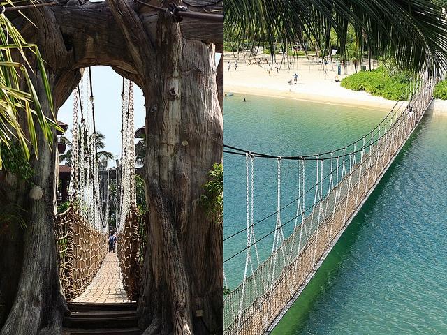 rope bridge, sentosa island, singapore