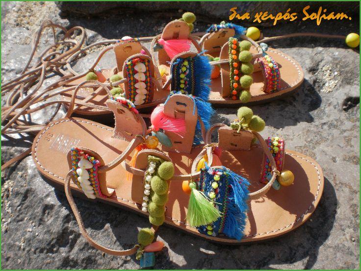 SaS033 bohemian sandals Green blue