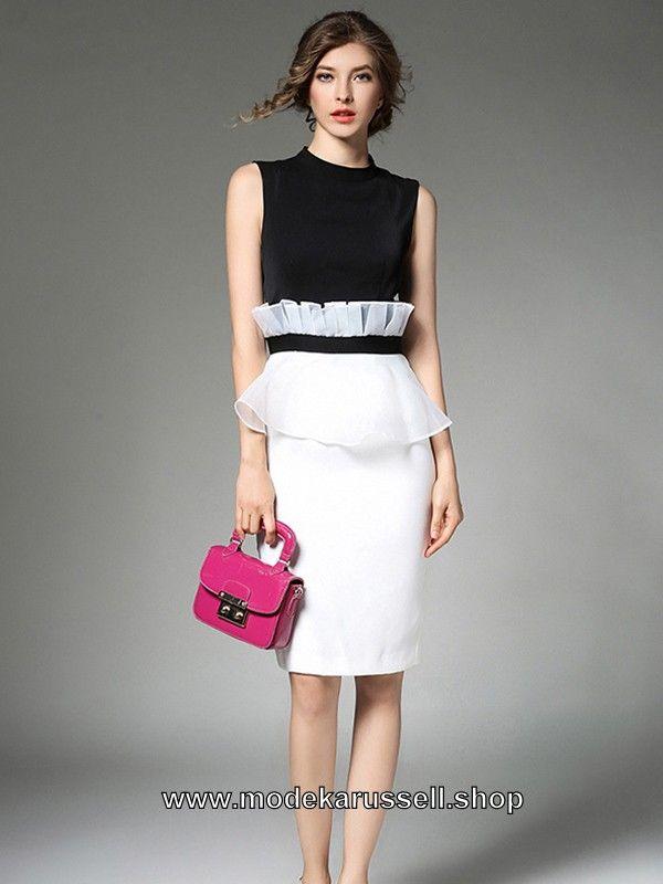 Elegantes Damen Kleid in Schwarz Weiß