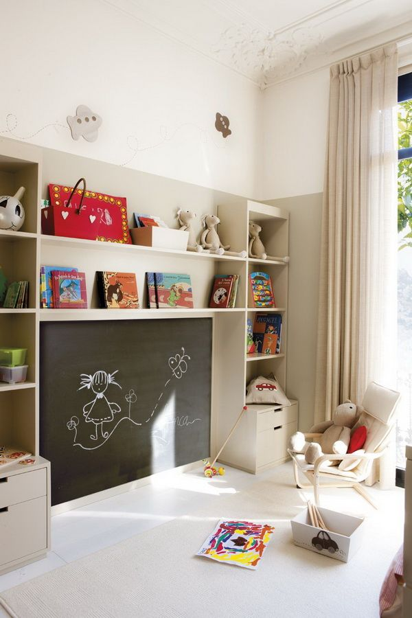 cool blackboard and built in storage - maybe consider placing easel in space where chalkboard is?: