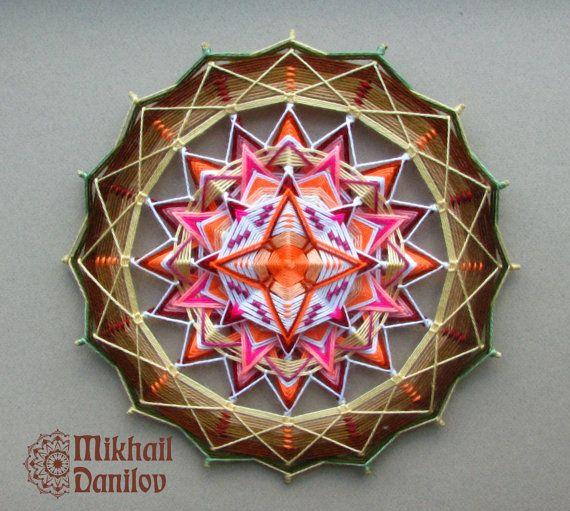 "Woven mandala ""Shaman's Eye"" yarn mandala huichol art ojo de dios handmade wall decor hanging colorful eye of god indian shamanic"
