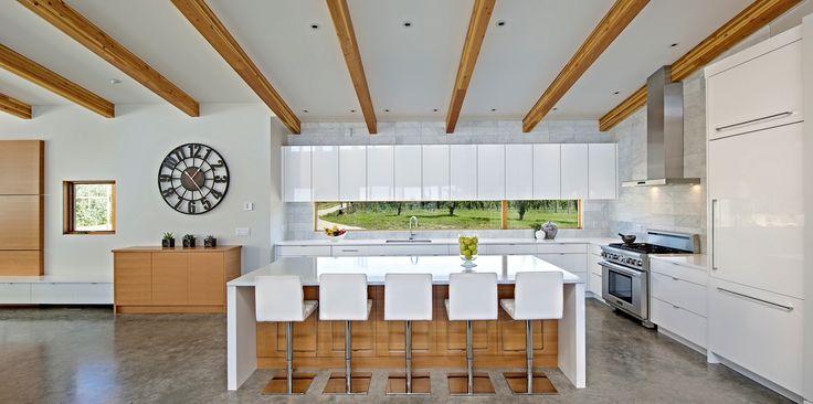 Modern Kitchen Design, white kitchen, exposed wood beams, natural, organic, high gloss.