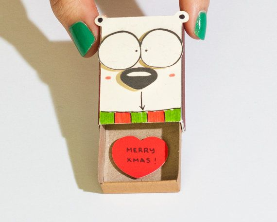 Merry Christmas Card / Dog Christmas Greeting Card // Holiday Card / New Year Card Matchbox / Small Gift Box / Merry Christmas