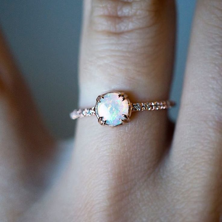 We Couldn T Resist Setting This Australian Opal In Rose Gold It S Full Of Engagement Ringsrose