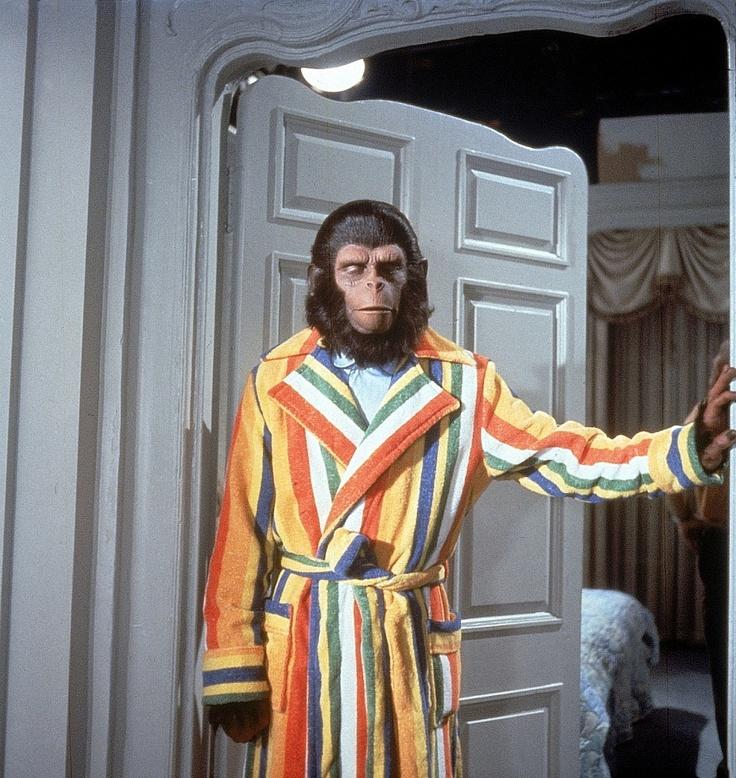 """le degré de civilisation se mesure au choix de la robe de chambre: bravo les monkeys!!! """"La planète des singes""""!"""