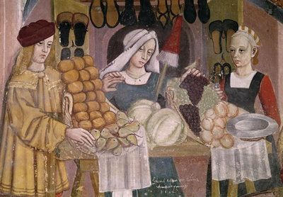 The Fruit Sellers' Stand, detail from 'The Fruit and Vegetable Market' (fresco). Italian School. c1500