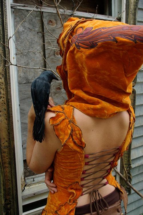 Hooded Corset Top  Divine Demeter by velvetplume on Etsy, $390.00