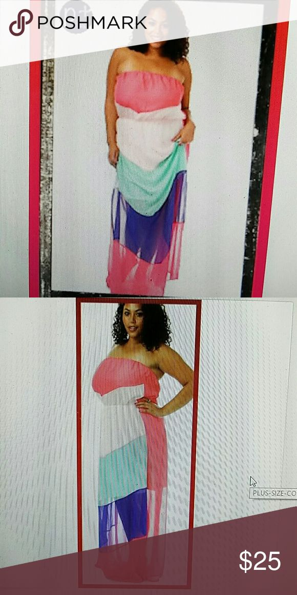 "Plus coral mint  chevron BOHO strapless maxi dress New plus size long tube maxi strapless dress. Empire waist. Bold colors, pink coral, mint, blue, white. Has lining that stops around knees so bottom of dress is semi sheer. Approx 54"" Auditions Dresses Maxi"