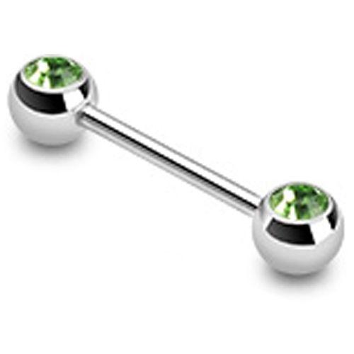 Tongpiercing dubbele steen groen