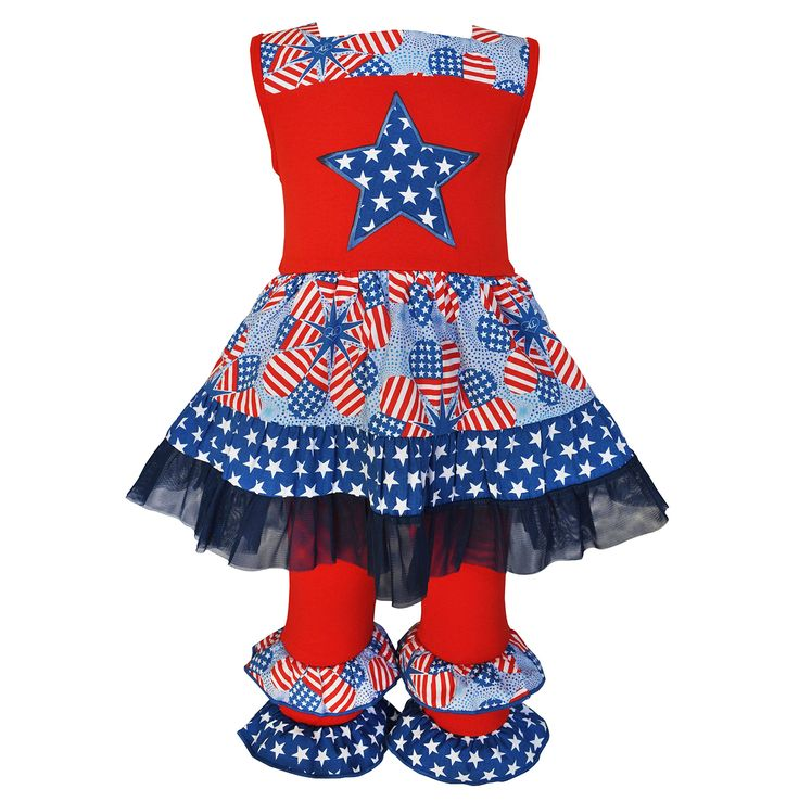 AnnLoren Little Girls Red Navy Star American Flag Print 2 Pc Pant Set 6/6X. Dress features a blue star applique with an original American flag heart print. Finished with button closures and blue tulle ruffle trim. Red Knit Capris boast coordinating ruffles and an elastic waistband for a great fit. 100% cotton, machine washable. AnnLoren Little Girls sz 6 /6X Boutqiue Patriotic Dress and Capri Outfit 2-Pc Set.