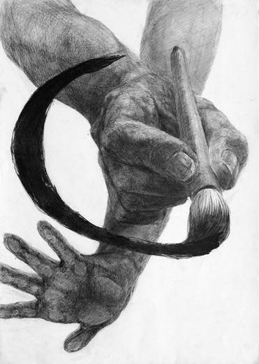 デッサン「両手と筆」/B3サイズ