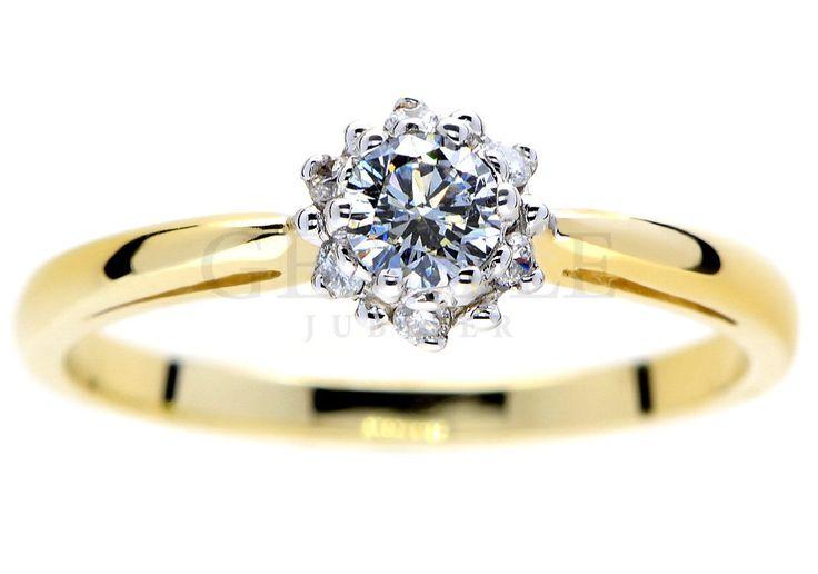 Prześliczny, złoty pierścionek zaręczynowy z brylantami w kształcie kwiatu - GRAWER W PREZENCIE   PIERŚCIONKI ZARĘCZYNOWE  Brylant  Żółte złoto od GESELLE Jubiler