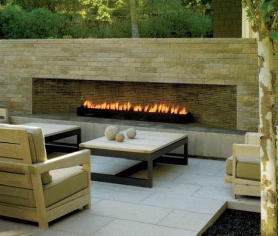 steinfliesen kamin holztisch design ideen - Steinplatte Kamin Surround