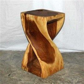 Twist Wooden Stool - Rustic