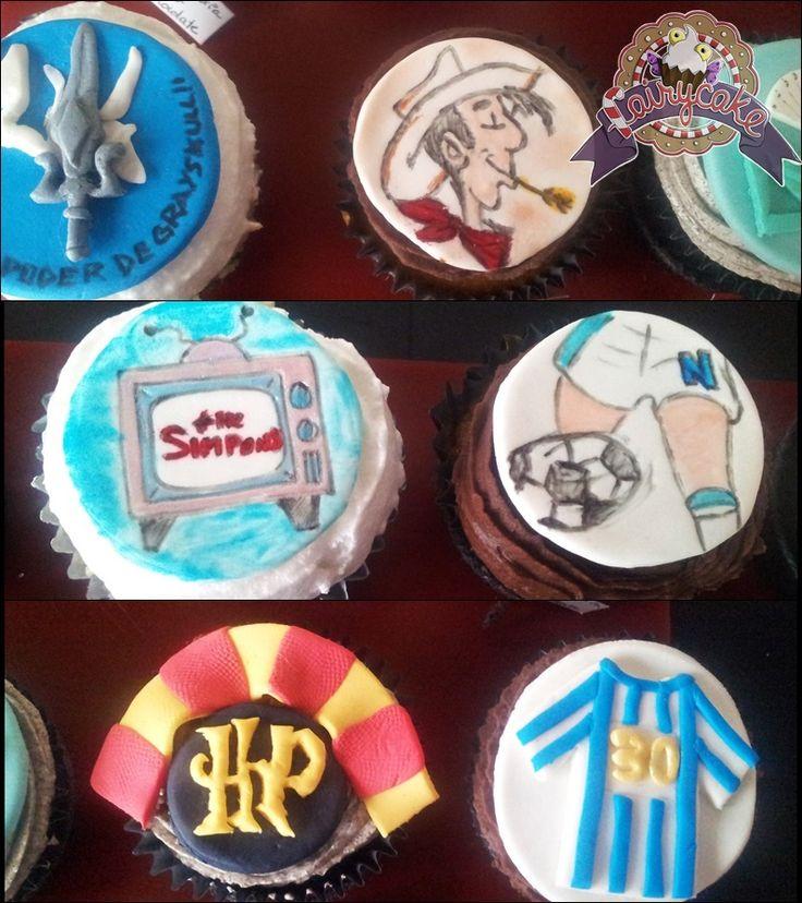 Cupcakes variados. Harry Potter, Oliver y Benji, Lucky Luk, Heman, Los Simpsons