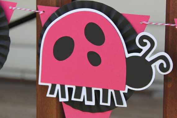 CLOSEOUT Set of Ladybug Birthday Decor Bright by pinkpaperpackages, $25.00